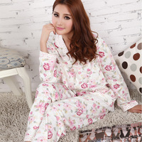 free shipping 12 summer sleepwear long-sleeve rose set flower women's trousers buckle knitted cotton lounge