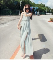 Summer fashion beach dress vest chiffon one-piece dress full racerback dress long white beach casual dress