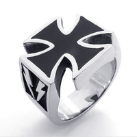 men`s rings fashion accessoires 21424 stainless steel black cross ring titanium stamp cross ring male personality