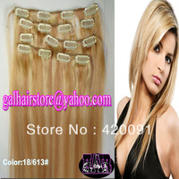"15"" 18"" 20"" 22"" Full Head Remy Clip in Human Hair Extensions Indian Virgin Hair Color #18/613  7PCS 70g/Set DHL Fast Shipping"