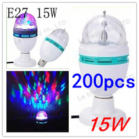 200pcs/lot  E27 15W 3 Color Energy-saving LED Light, Crystal Rotating Party Bulb Globe Lamp Bubble Ball Bulbs Free Shipping