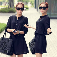 2013 spring and autumn brief ol women's slim o-neck half sleeve slim waist shirt one-piece dress office dress for ladies