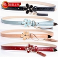 All-match elegant strap exquisite genuine leather women&#39;s oil flower pendant tieclasps tassel thin belt