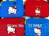 Top quality portable lovely cartoon hellokitty cotton fabric handbag KT cat sleeve durable case for 10 inch tablet  ipad2 ipad3
