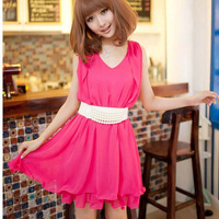 Summer one-piece dress slim tank dress sweet princess ruffle basic one-piece dress