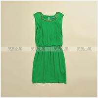 Quality double layer silk neckline beading decoration o-neck bag elastic waist slim one-piece dress 5