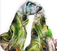 Free shipping, 2013 new in 100% silk (180*52cm)Women Peacock Printed  Scarf