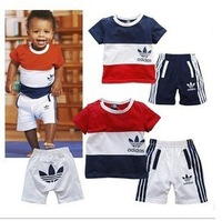 in stock! NEW Baby's clothing set Baby's Suit Short-sleeved spliced shirt+ Long trousers