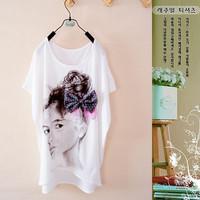 Summer women's batwing sleeve top plus size loose short-sleeve T-shirt fashion basic shirt ,Free shipping