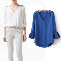 Free Shipping New Spring 2013 New Chiffon Blouse V Neck Long Sleeve Casual Blouses Solid Color Fashion Shirt