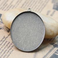 Zakka~Antique Bronze Pendant 30*40mm Crown Trays,Blank Pendant Bases Cameo Cabochon,Bezel Pendant Settings for Glass or Stickers
