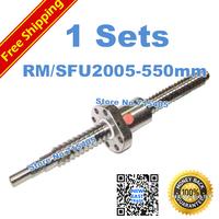 Free Shipping SFU2005 550mm RM2005 550mm Rolled Ball screw 1pcs+1pcs ballnut + end machining for BK/BF15 standard processing
