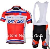 2013 katusha Short Sleeve Cycling Jersey/ Bike Wear shirt + Bib Shorts Sets / Suite Size :S,M.L.XL.XXL.XXXL
