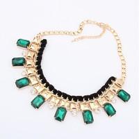 gem fashion necklace female short design emerald vintage accessories