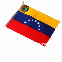 Free shipping wholesale Venezuela good quality small National flags with pole 14*21 cm