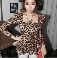 Spring square collar low-cut slim waist bubble skirt long-sleeve leopard print top 142