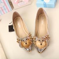 hot sale 2014 sweet luxury fox fur rhinestone rivets gem metal shiny pointed toe leather leisure casual women flat shoes brand