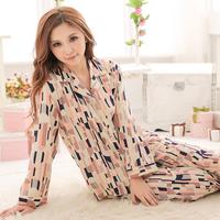 Summer turn-down collar silk cotton long-sleeve twinset set sleepwear lounge
