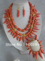 fashon coral jewelry set necklace bracelet and earring