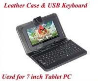 """Good Quality Protective sleeve Leather Case with USB Keyboard for 7"""" inch Tablet PC Android Mini PC protecting jacket key board"""