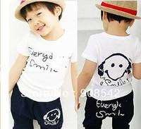 Wholesale 2013 Smiling face t shirt+pants 5pcs/lot  Kids set summer wear Short sleeve set Multicolor Children clothing suit