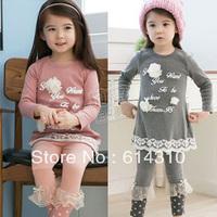 Free shipping  spring letter flower girls clothing child long-sleeve T-shirt legging set tz-0607