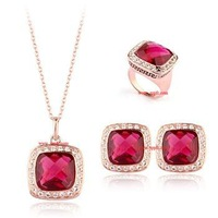 Min.order is $15, Free shipping/Wholesale/High quality New Austria pink crystal gold plated jewelry set