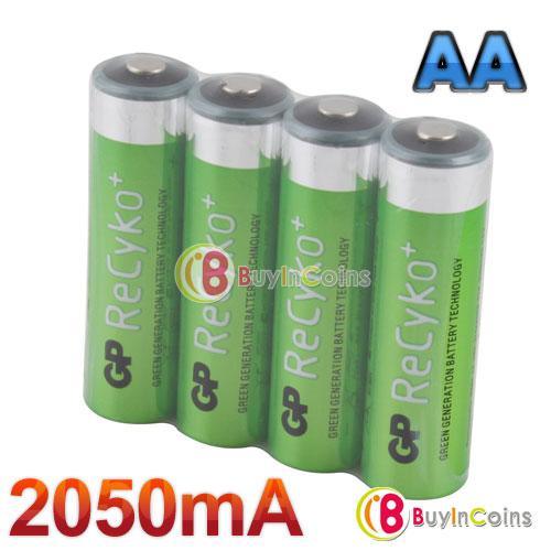4 PCS Hi-power GP Recyko 2050mAh 1.2V Ni-MH NIMH Rechargeable AA Battery #1[22537|01|01](China (Mainland))