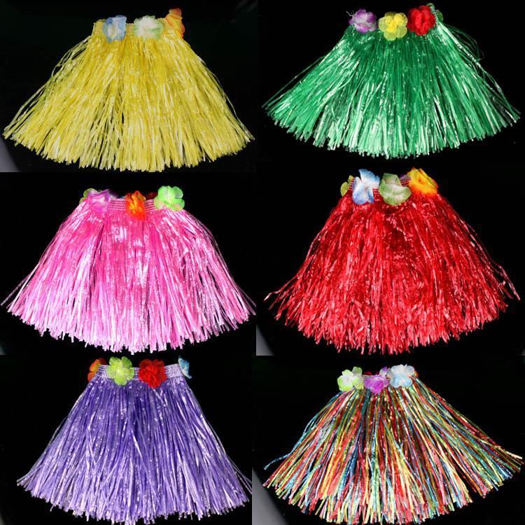 O envio gratuito de 40 CM elásticas dança hula saia roupas de adultos estabeleceu festas trajes havaianos 8 cores atacado HQ0004(China (Mainland))