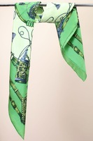 2013 spring and summer mulberry silk bright green large facecloth silk scarf 88X88CM Free Shipping