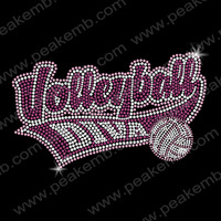 Free Shipping 30pcs/Lot Iron On Letters Volleyball Diva Wholesale Rhinestone Heat Transfers Motif Free Custom Design Available