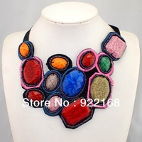 Hot Sale bohemian Collar Necklaces,Fashion Chokers With Hi-Q Colorful Resins And Ribbon For Women S057
