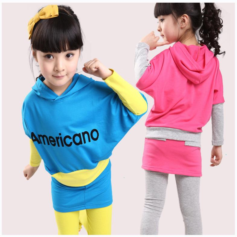 2013 new children 's wear girls sports leisure suit cuhk children during the spring and autumn batwing coat(China (Mainland))