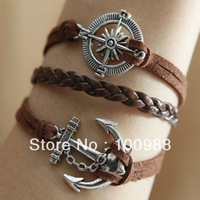 10PCS/Lot Free Shipping European Vintage Anti Silver Plaitng Archor Brown Leather Bracelet For Woman 2013 Fashion Jewelry