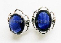 Sapphire stud earring Free shipping Natural and real sapphire 925 sterling silver plating 18k white gold Wholesales