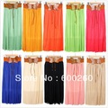 Free Shipping 2013 summer skirt with belt pleated skirt solid color bow ladies chiffon temperament skirt F0157