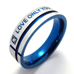 "074312 Titanium 316L Stainless Steel Ring Blue Promise Ring ""Love Only You"" Fashion Men's Rings Jewelry(China (Mainland))"