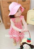 Kids clothes set for baby girls 3PCS  /set  Hat+tank dress+underpants white polka dot girls sets summer 2013 Baby Kids outwear
