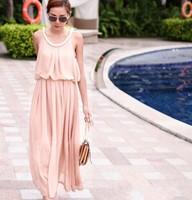 women sleeveless scoop neck beading decor elastic chiffon long dress Free shipping