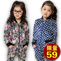 Children's clothing 2013 spring and autumn female male child harem pants cotton prints flower trend of casual sports set