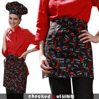 cotton print short design apron chef apron work aprons cook waiter hotel bar restaurant fashion free shipping wholesale