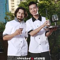 summer short-sleeve  professional hotel cafe restaurant patisserie cook waiter waitress chef free ship wholesale