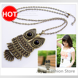 Min order $10, 2013 Charms Hot Sale! Retro Chain Owl Bird Locket Long Fashion Necklaces Jewelry,Pendant Necklaces(China (Mainland))