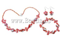 Free shipping!!!Crystal Jewelry Sets,Kawaii,, bracelet & earring & necklace, with Lampwork & Copper Coated Plastic