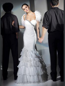 New Arriva 2013 Custom Made Cheap Mermaid Floor-length  Beading Sweatheart One Shouder Tassel Chiffon Elgnt Prom Dress