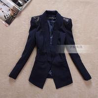 2013 women's autumn outerwear slim leather shoulder pads medium-long blazer