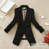 2012 women's autumn outerwear shoulder pads slim waist three quarter sleeve blazer 2