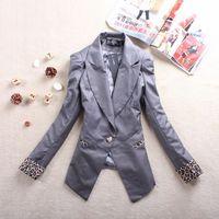 2013 women's spring outerwear medium-long leopard print blazer suit white black