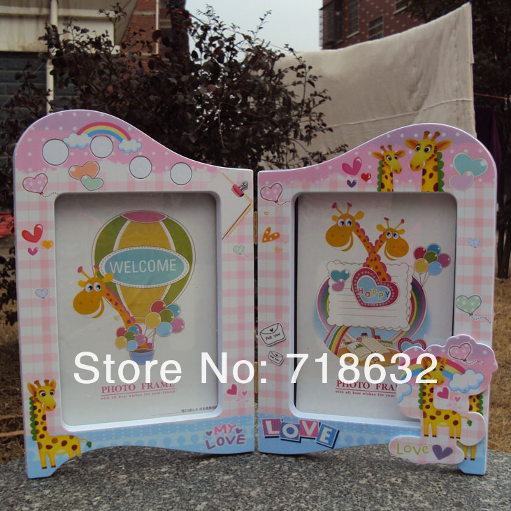 Free Shipping, mi rabbit 2 screen type frame picture frame couples children baby studio frame ,Children's birthday photo frame(China (Mainland))