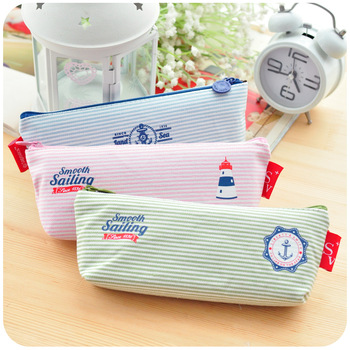 Hearts . stripe pencil case small capacity brief fresh big pencil korea stationery